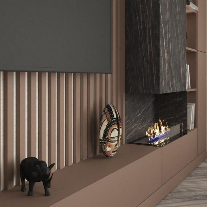 гостиная с биокамином и порталом из керамогранита