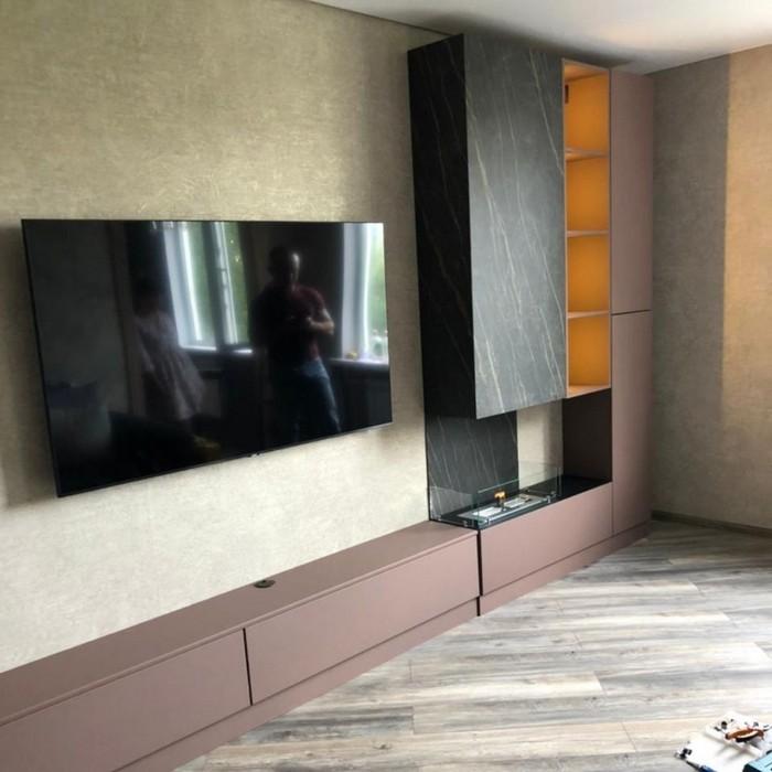 стенка для гостиной со встроенным биокамином