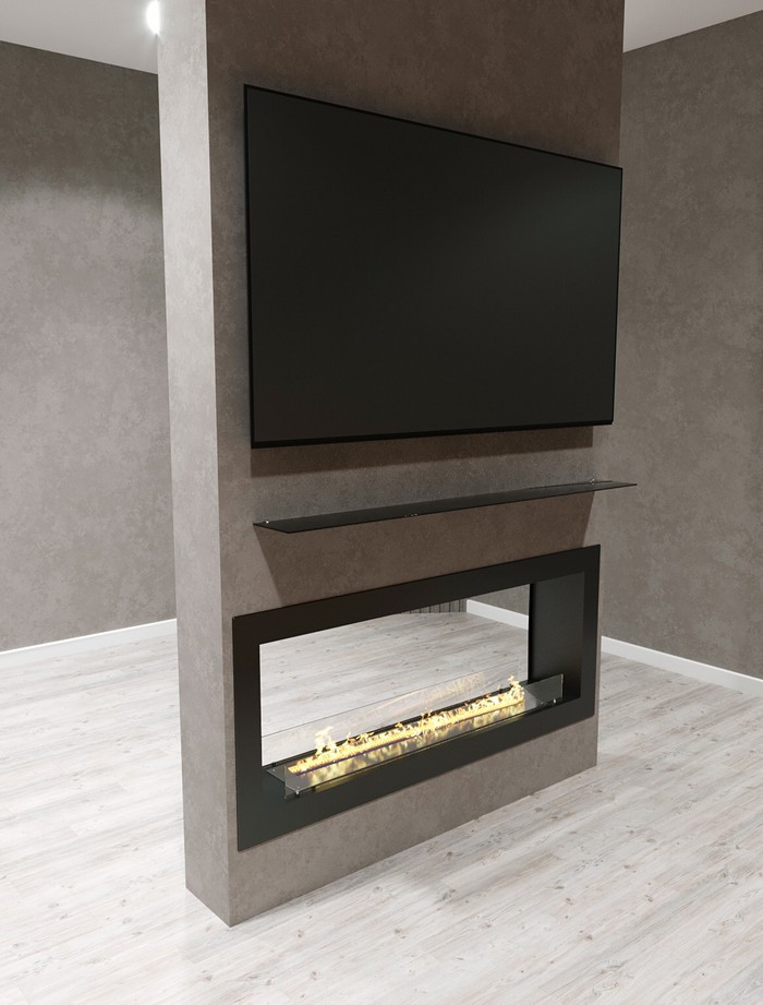 Сквозной биокамин и телевизор
