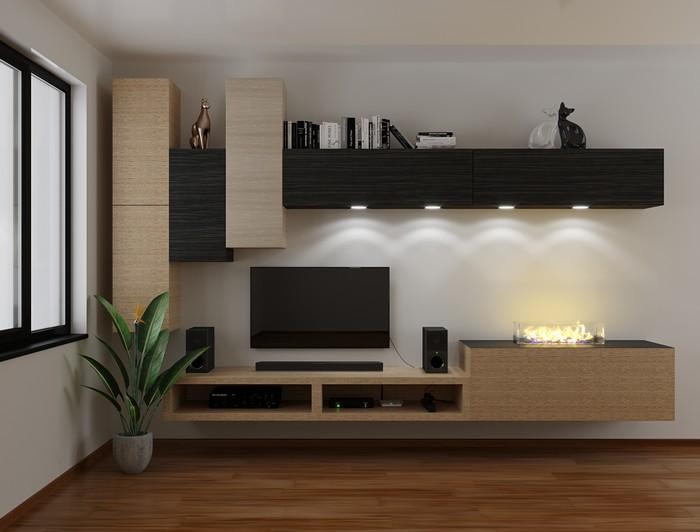 биокамин, встроенный в мебель