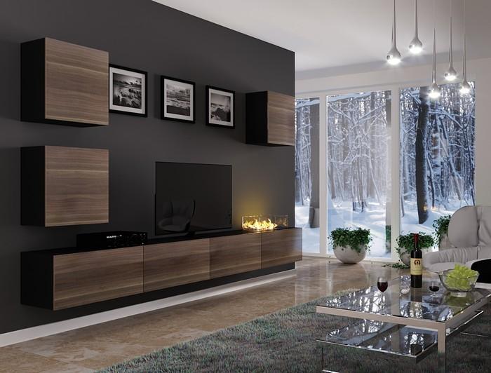 гостиная с биокамином в современном стиле