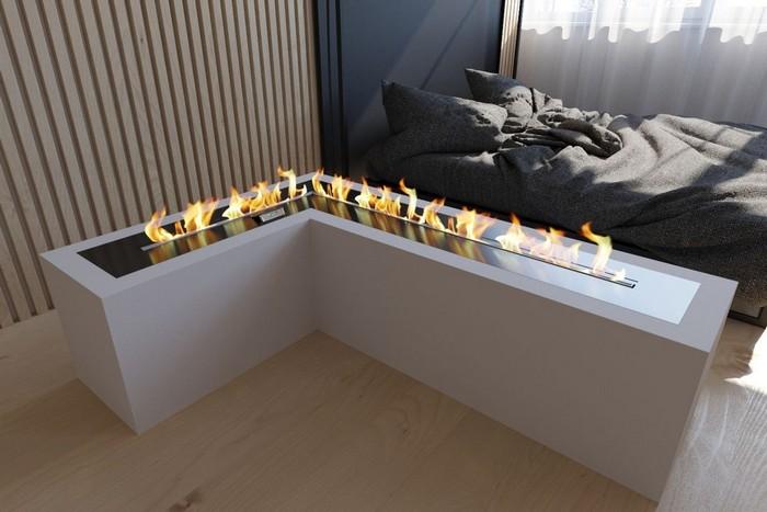 большой биокамин в спальне
