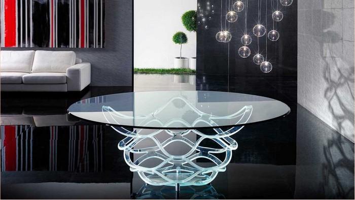 дизайнерский обеденный стол из стекла