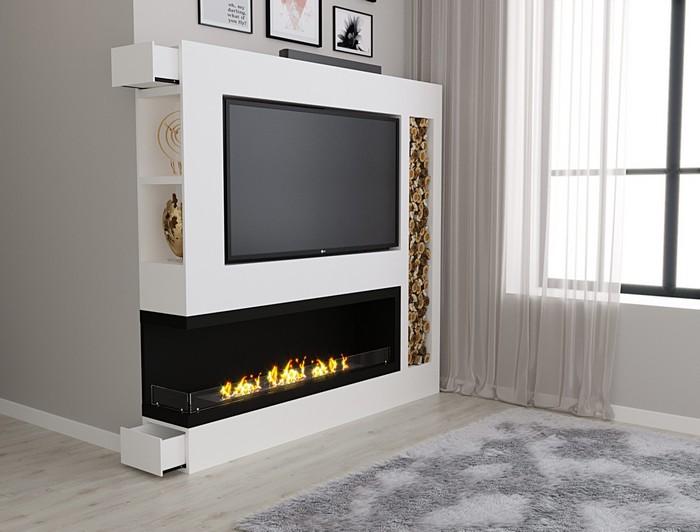 стенка с биокамином и телевизором для гостиной