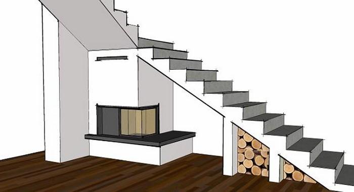 угловой биокамин под лестницей