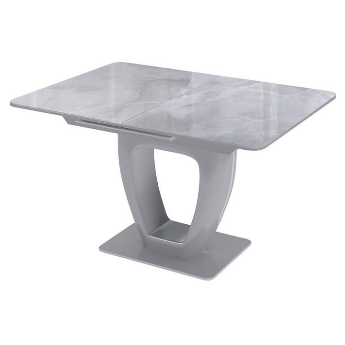 обеденный стеклянный стол с фотопечатью под мрамор