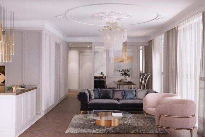 дизайн гостиной с золотым биокамином