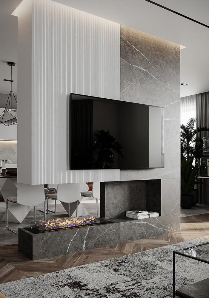 тв-зона в гостиной с телевизором