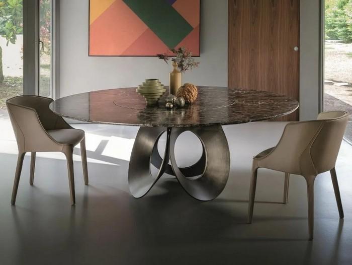 дизайнерский овальный стол из керамогранита